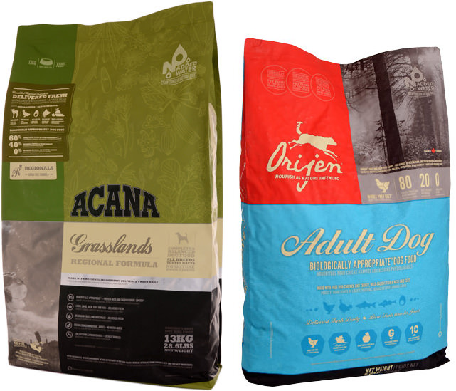 Acana Grasslands Dog 13kg und Orijen Adult Dog 6,8kg